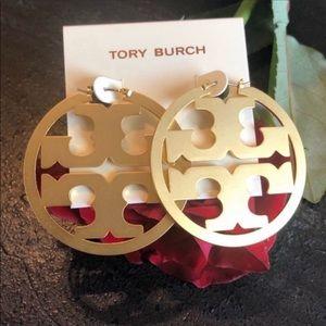 Tory Burch NWT Miller Gold Hoop Logo Earrings